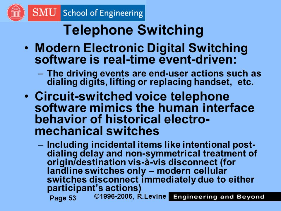 Telephone Switching Modern Electronic Digital Switching software is real-time event-driven: