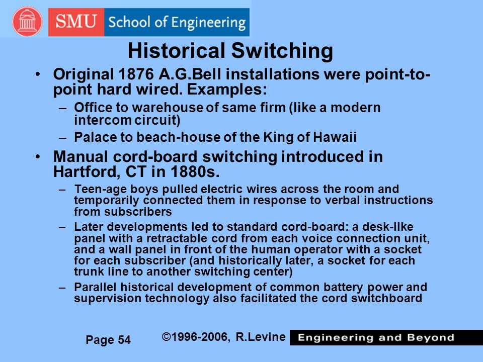 Historical Switching Original 1876 A.G.Bell installations were point-to-point hard wired. Examples: