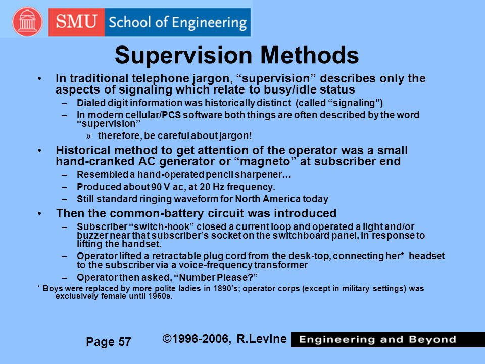 Supervision Methods In traditional telephone jargon, supervision describes only the aspects of signaling which relate to busy/idle status.