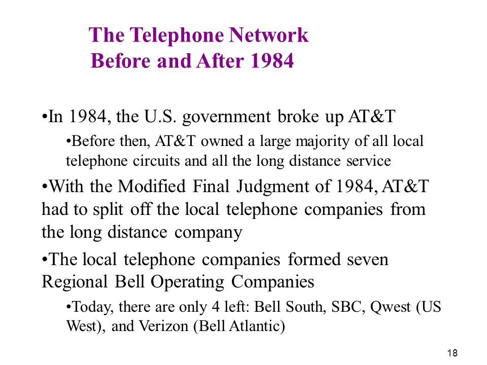 Before and After 1984 The Telephone Network