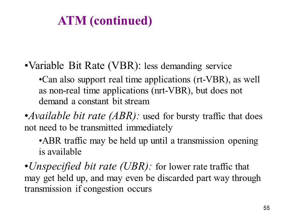 Variable Bit Rate (VBR): less demanding service