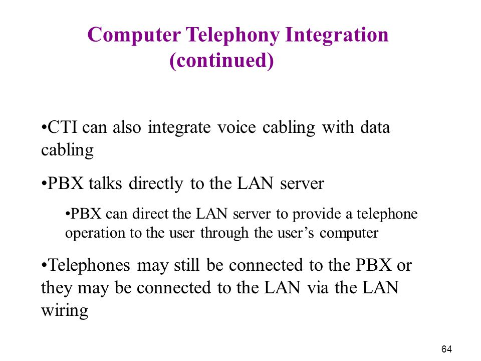 (continued) Computer Telephony Integration