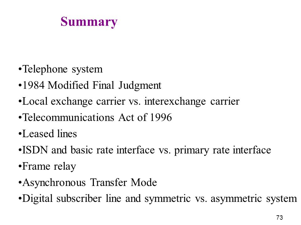 Summary Telephone system 1984 Modified Final Judgment