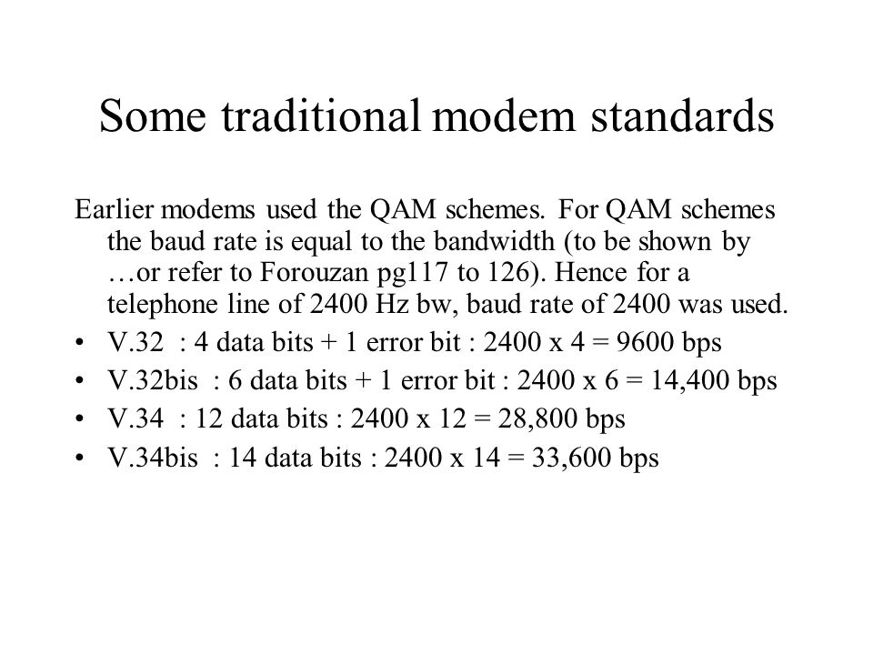 Some traditional modem standards