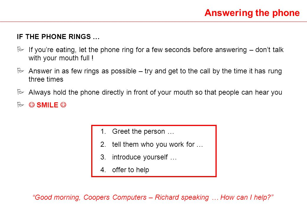 Good morning, Coopers Computers – Richard speaking … How can I help
