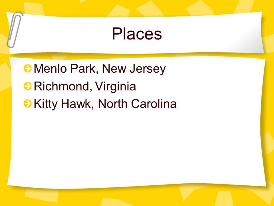 Places Menlo Park, New Jersey Richmond, Virginia