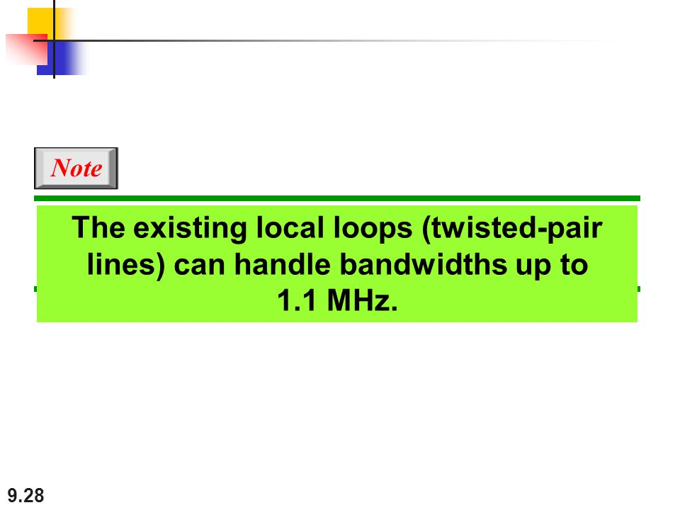 Note The existing local loops (twisted-pair lines) can handle bandwidths up to 1.1 MHz.
