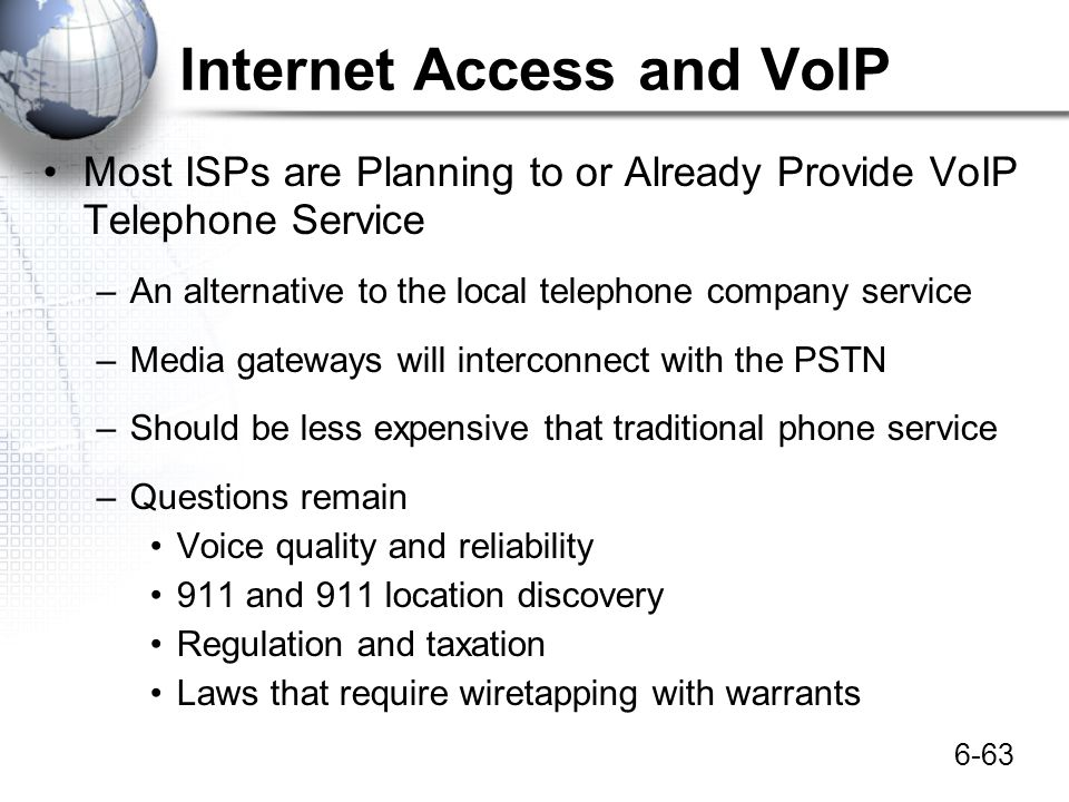 Internet Access and VoIP