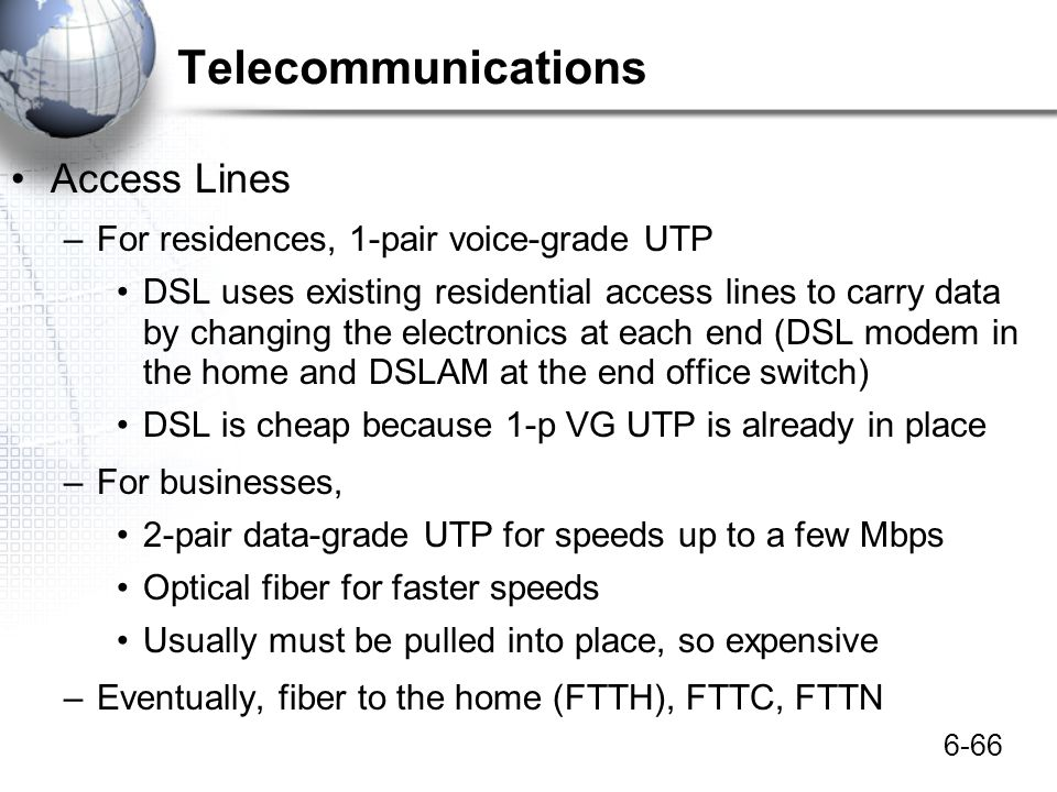Telecommunications Access Lines For residences, 1-pair voice-grade UTP
