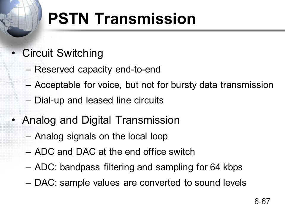 PSTN Transmission Circuit Switching Analog and Digital Transmission