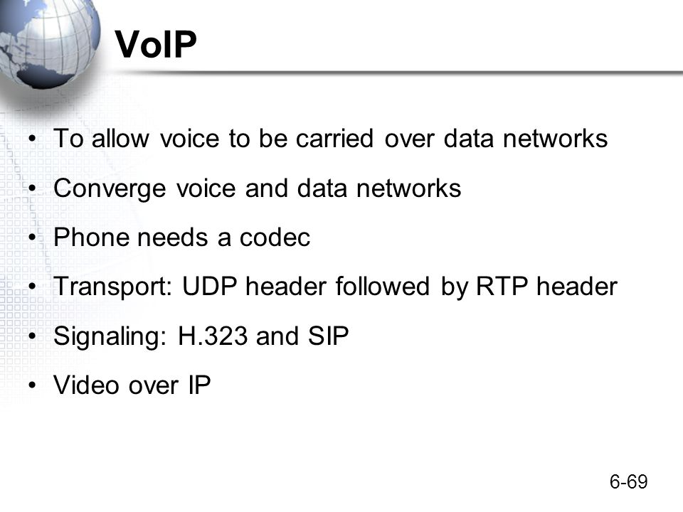 VoIP To allow voice to be carried over data networks