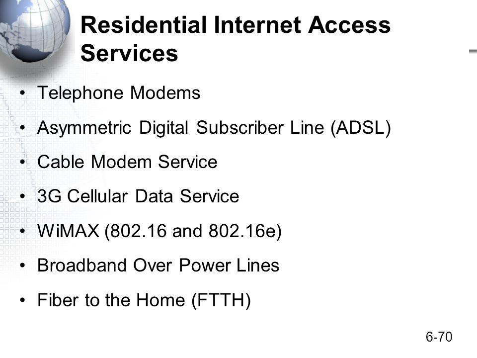 Residential Internet Access Services