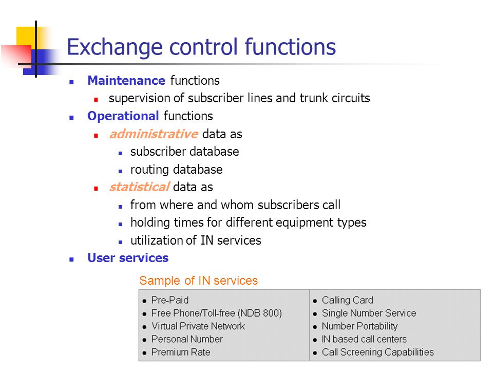 Exchange control functions