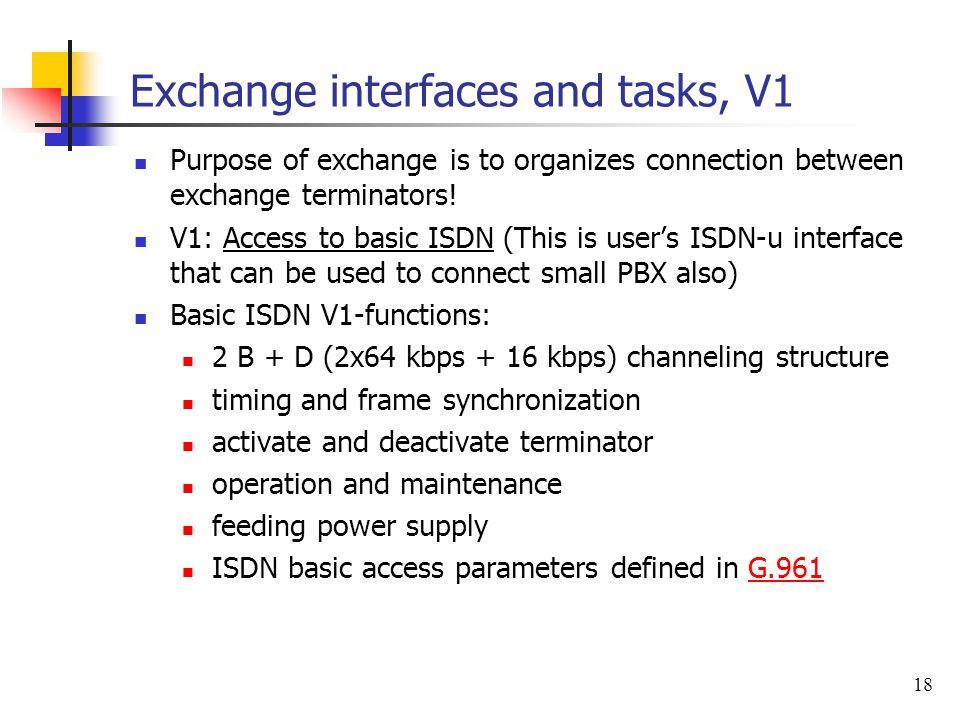 Exchange interfaces and tasks, V1
