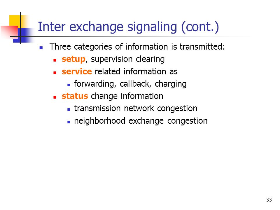Inter exchange signaling (cont.)