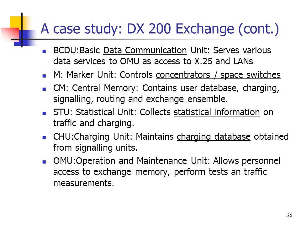 A case study: DX 200 Exchange (cont.)