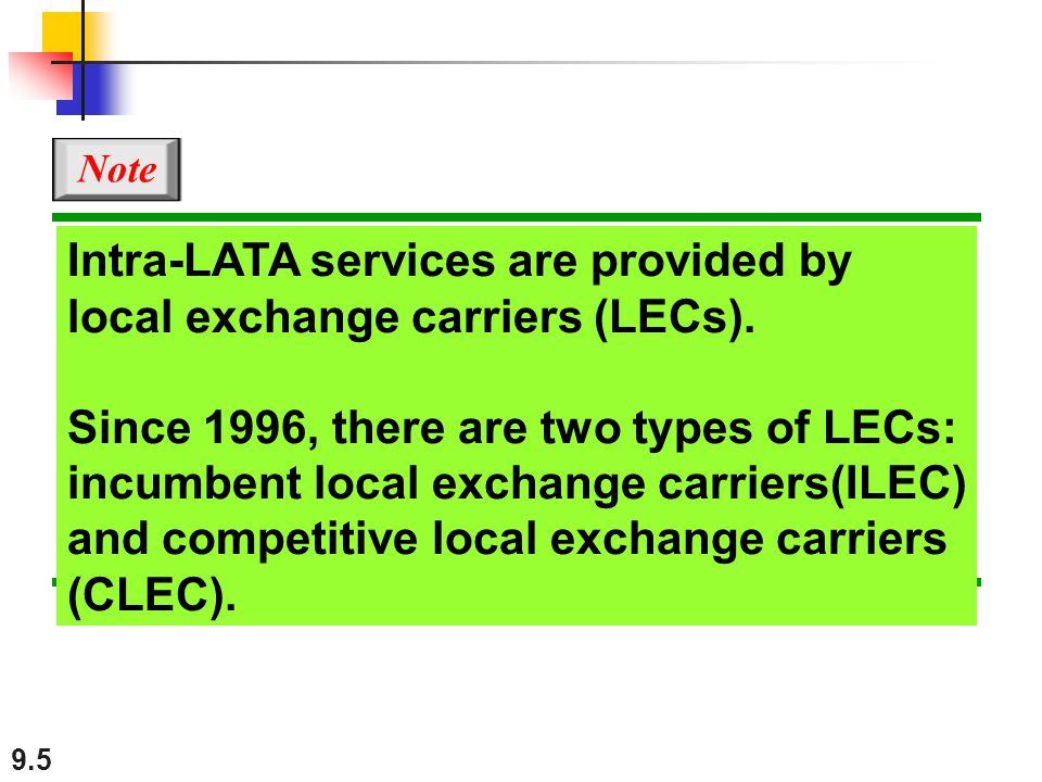 Intra-LATA services are provided by local exchange carriers (LECs).