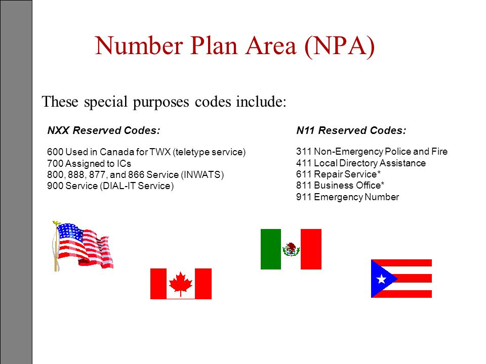 Number Plan Area (NPA) These special purposes codes include: