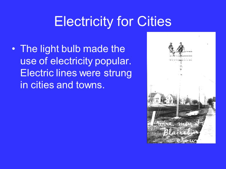 Electricity for Cities