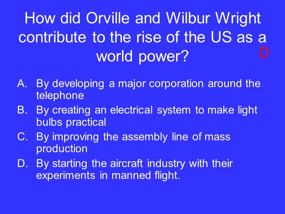 How did Orville and Wilbur Wright contribute to the rise of the US as a world power