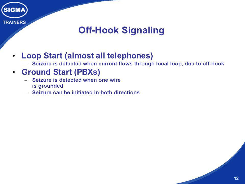 Off-Hook Signaling Loop Start (almost all telephones)