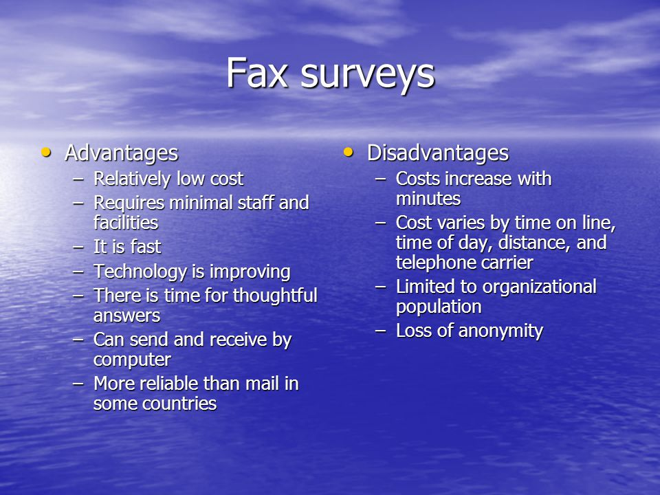 Fax surveys Advantages Disadvantages Relatively low cost