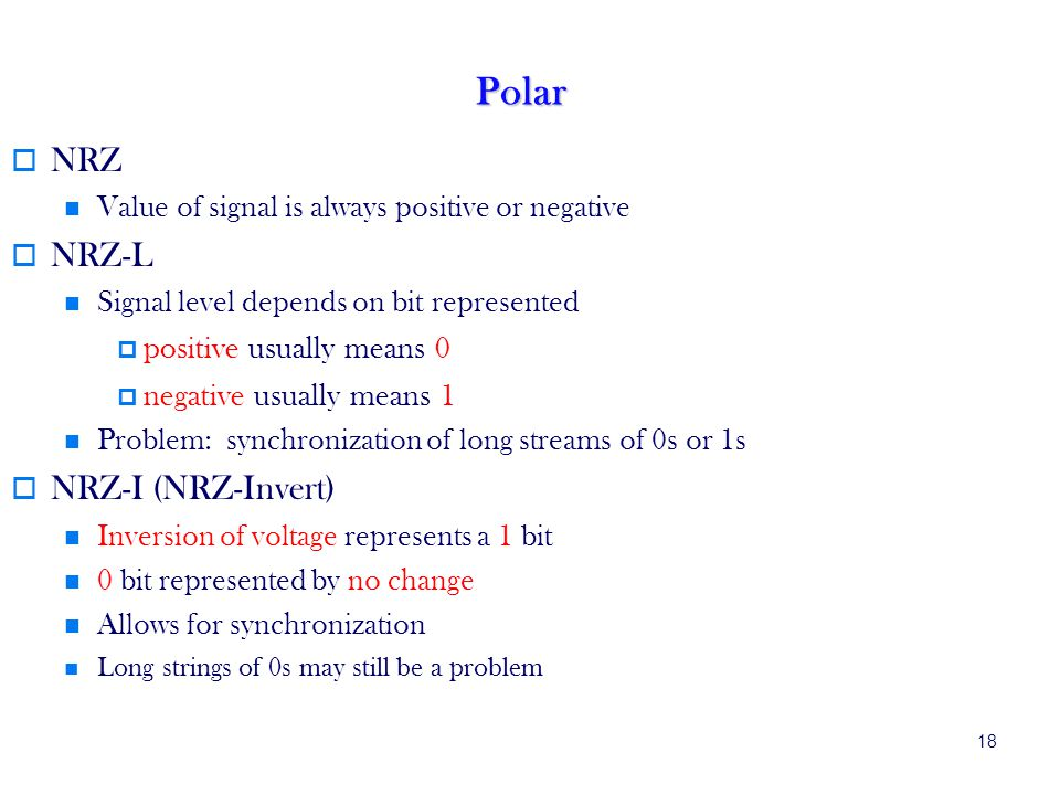 Polar NRZ NRZ-L NRZ-I (NRZ-Invert) positive usually means 0