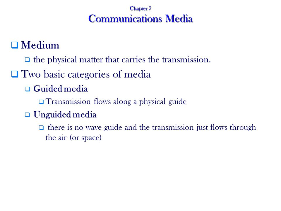 Chapter 7 Communications Media