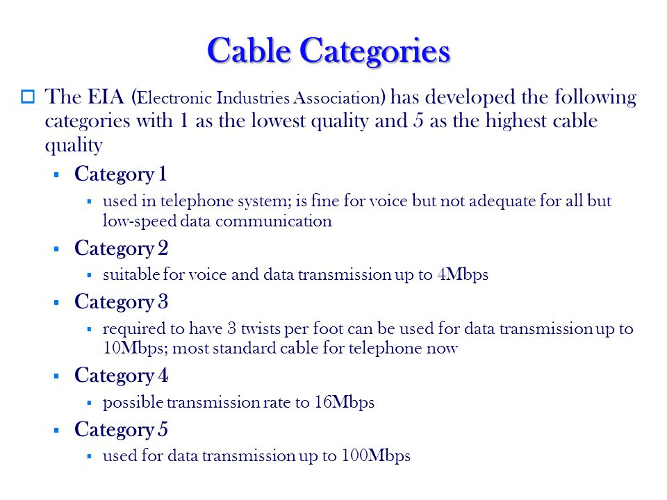 Cable Categories