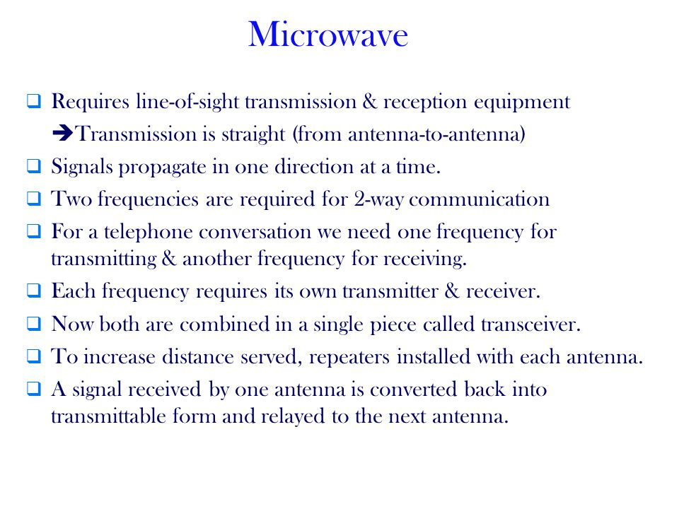 Microwave Requires line-of-sight transmission & reception equipment