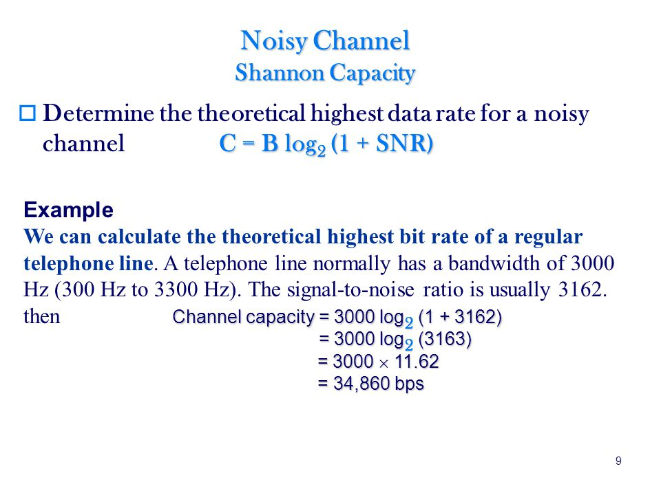 Noisy Channel Shannon Capacity