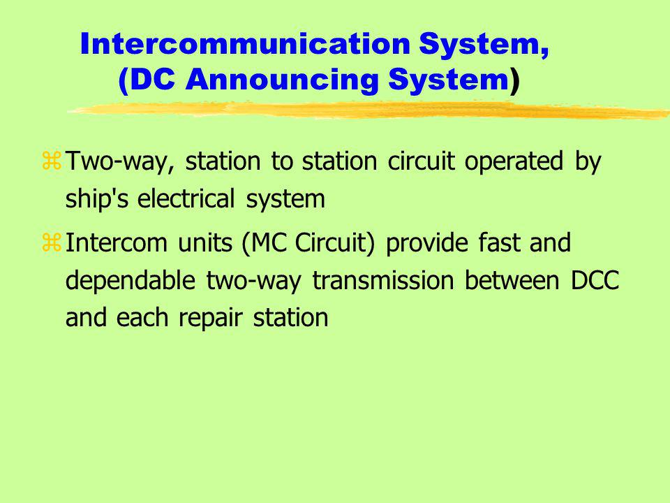 Intercommunication System, (DC Announcing System)