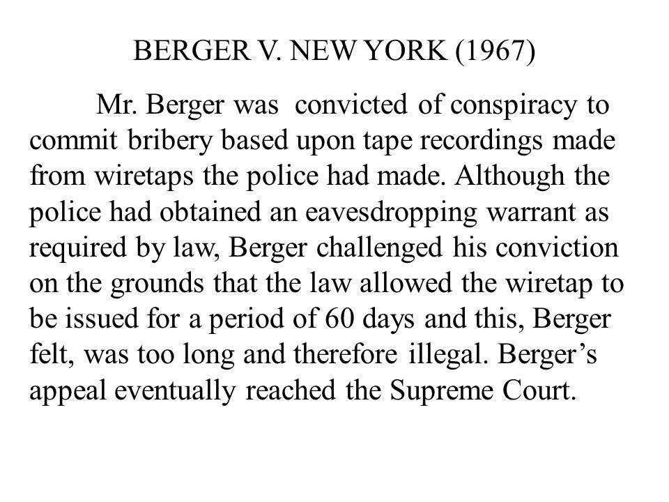 BERGER V. NEW YORK (1967)