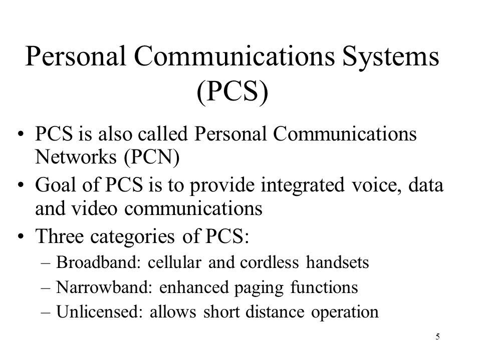 Personal Communications Systems (PCS)