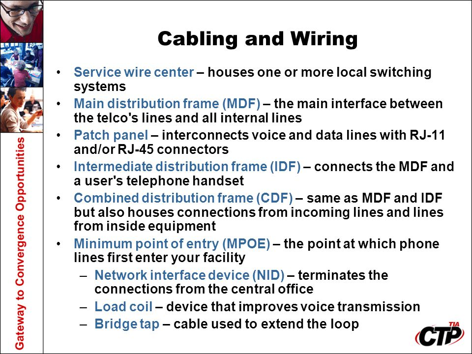 Cabling and Wiring Service wire center – houses one or more local switching systems.