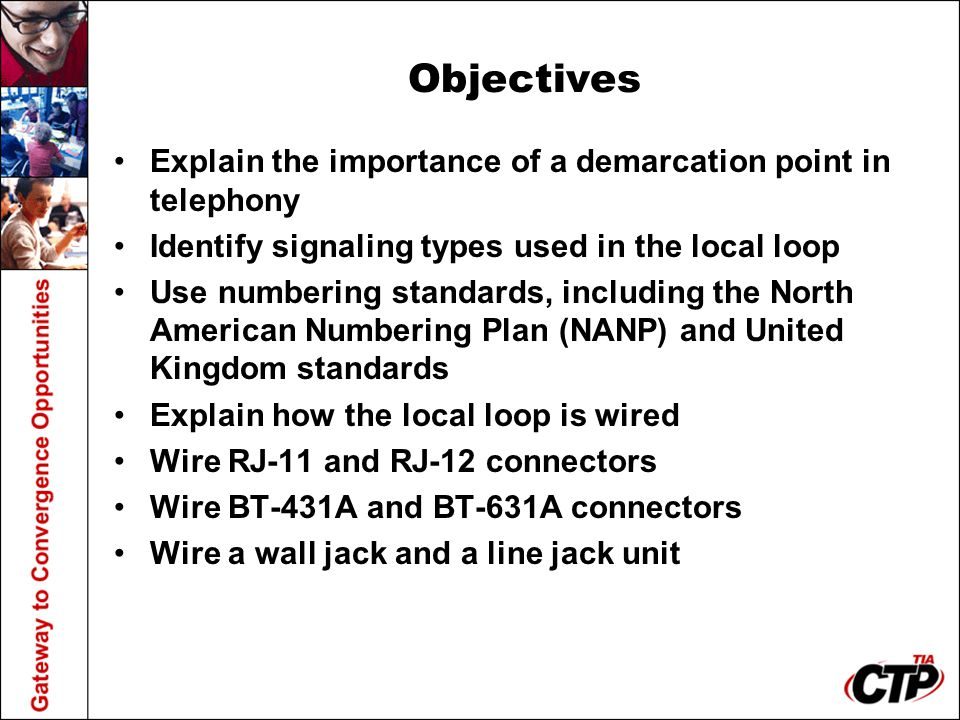Objectives Explain the importance of a demarcation point in telephony