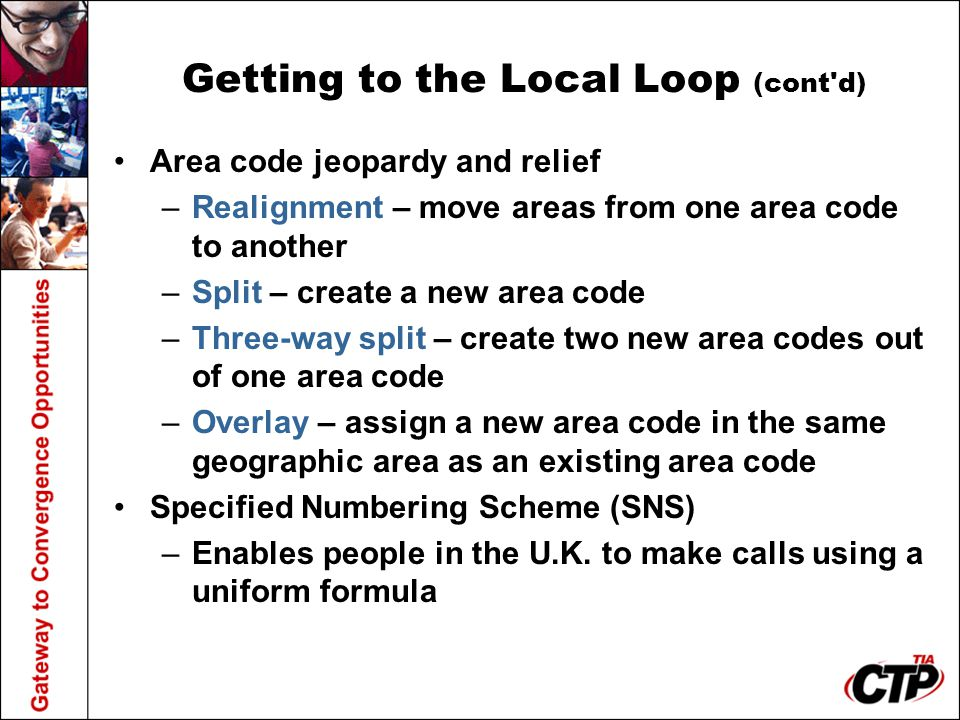 Getting to the Local Loop (cont d)