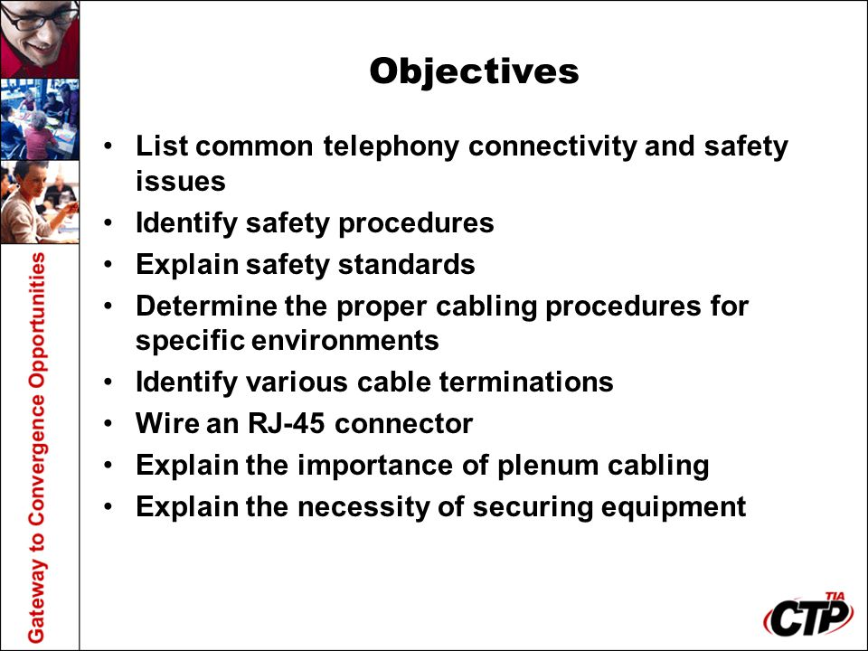 Objectives List common telephony connectivity and safety issues
