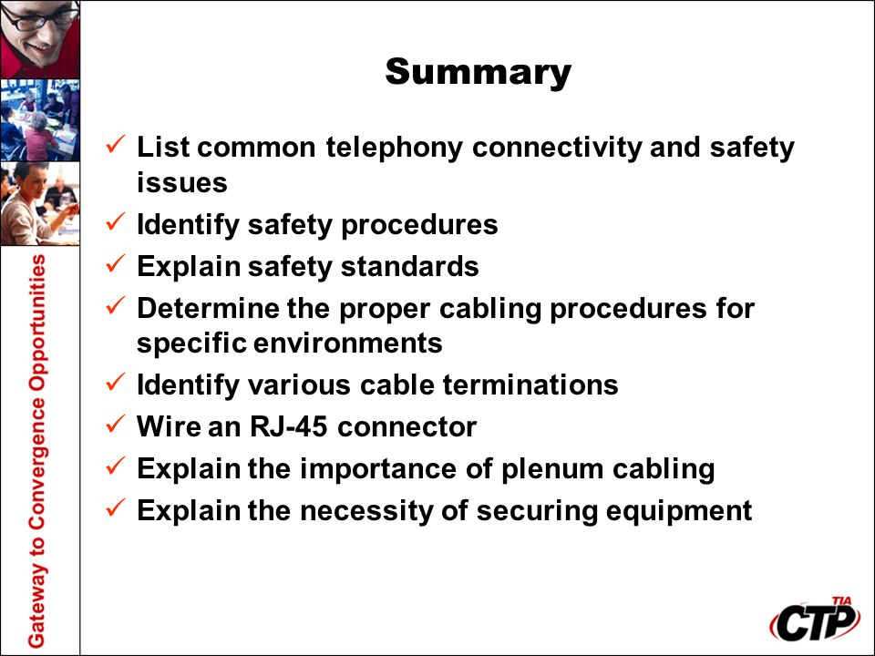 Summary List common telephony connectivity and safety issues