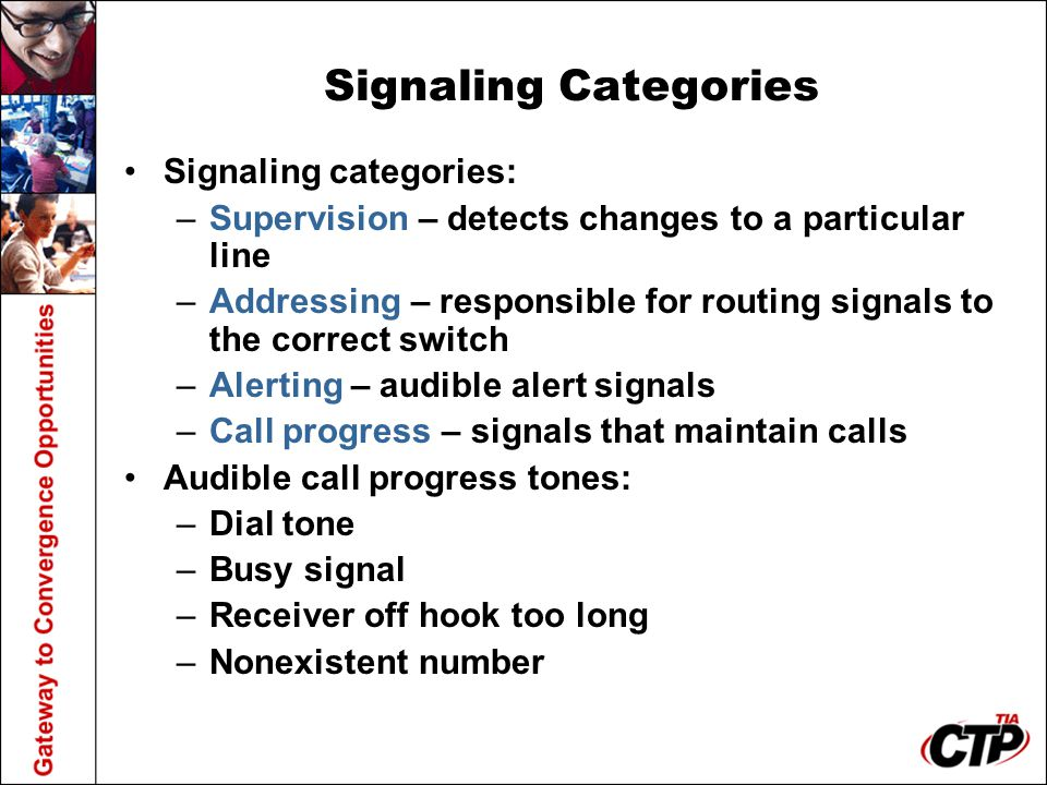Signaling Categories Signaling categories: