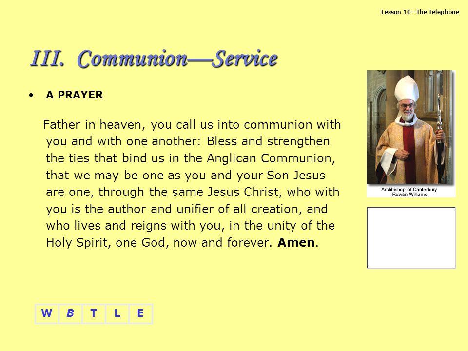 Communion—Service A PRAYER