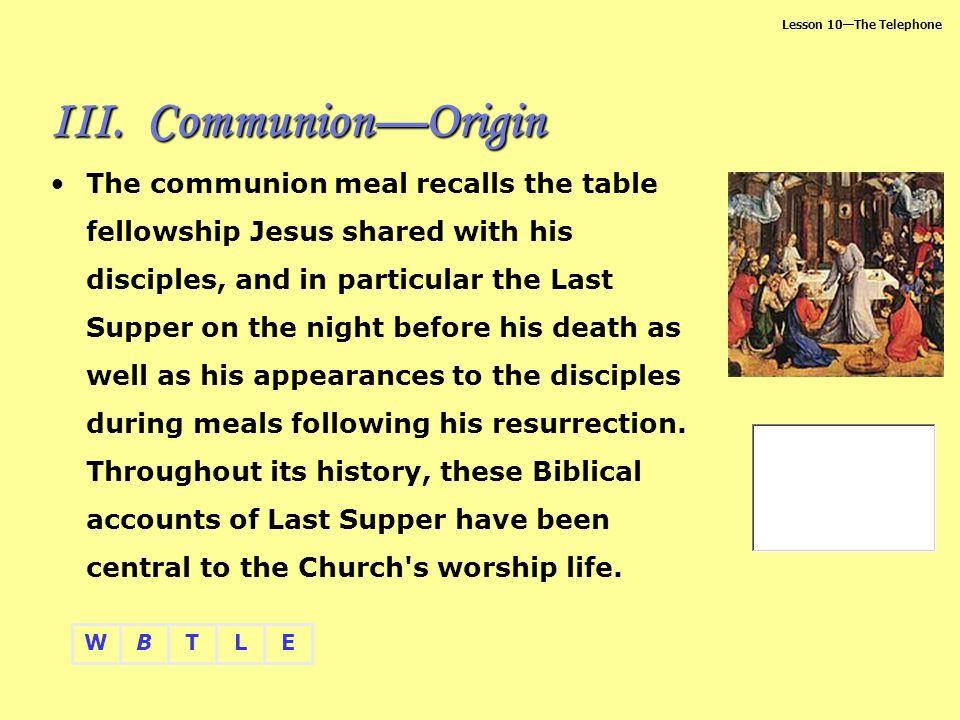 Communion—Origin