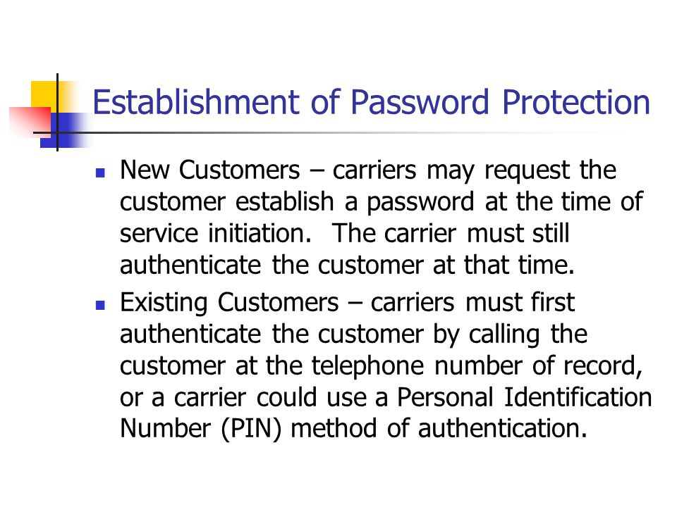 Establishment of Password Protection