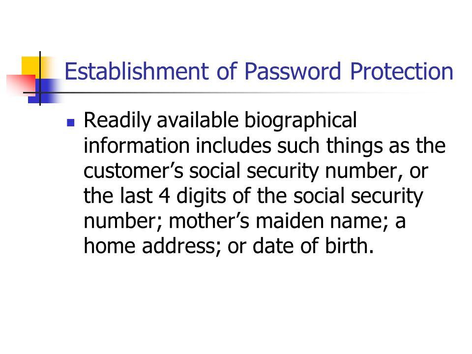 Establishment of Password Protection