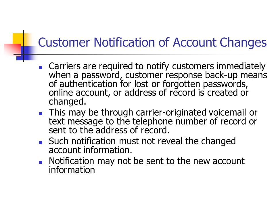 Customer Notification of Account Changes