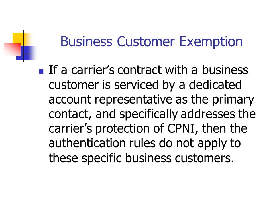Business Customer Exemption