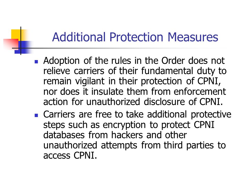Additional Protection Measures