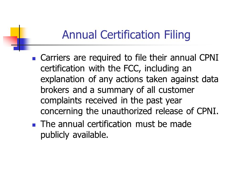 Annual Certification Filing