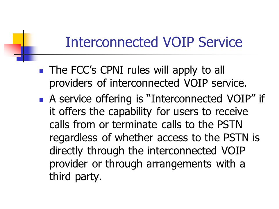 Interconnected VOIP Service