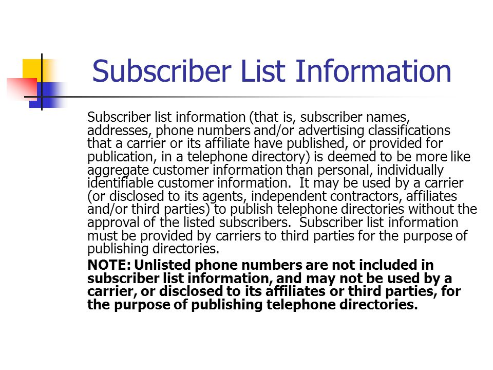 Subscriber List Information